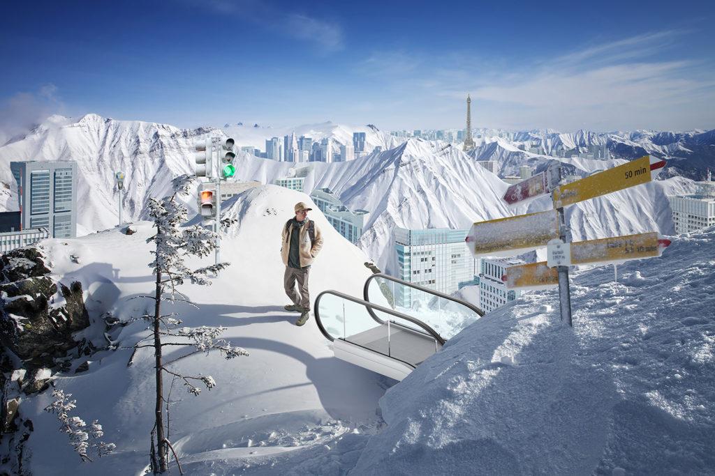 Winter snowy mountains and blue sky. Caucasus Mountains, Georgia, ski resort Gudauri.