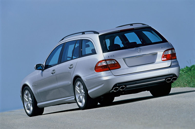 E55 AMG Wagon, silver, static shot, rear view
